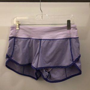 lululemon athletica Shorts - Lululemon purple stripe speed short sz 6 71261